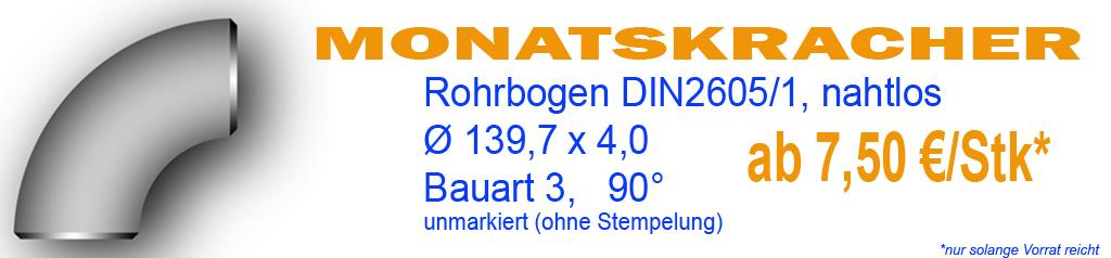 Rohrbogen 139,7 nahtlos DIN2605 AKTION